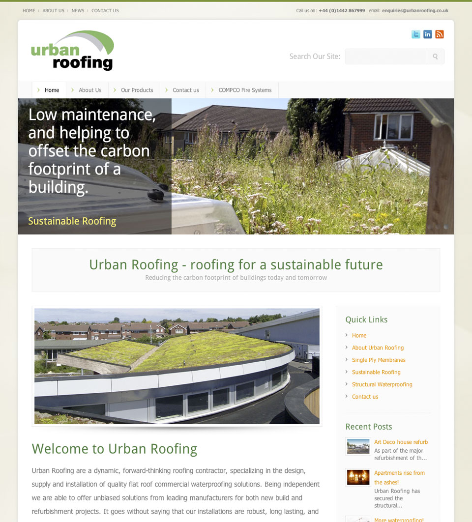 Urban Roofing web site