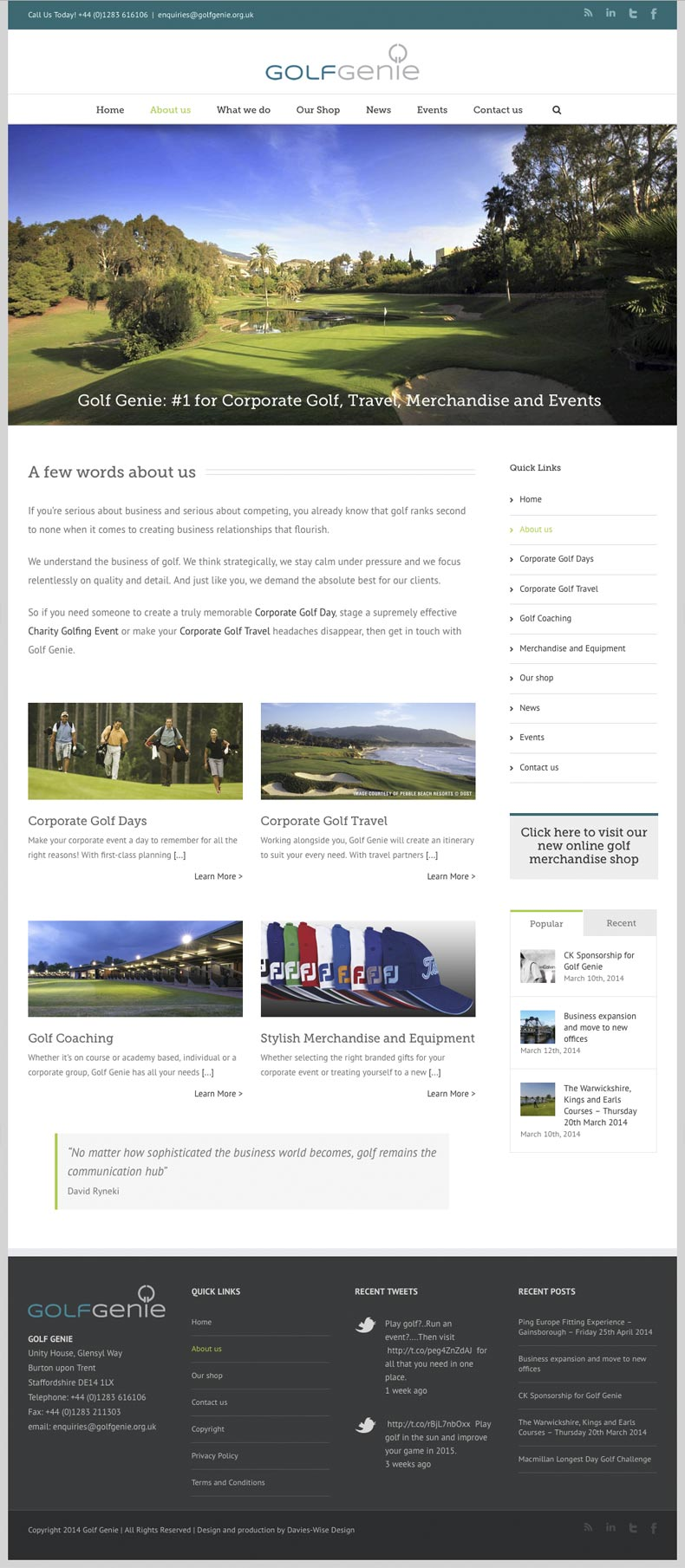 Golf Genie web site about us page