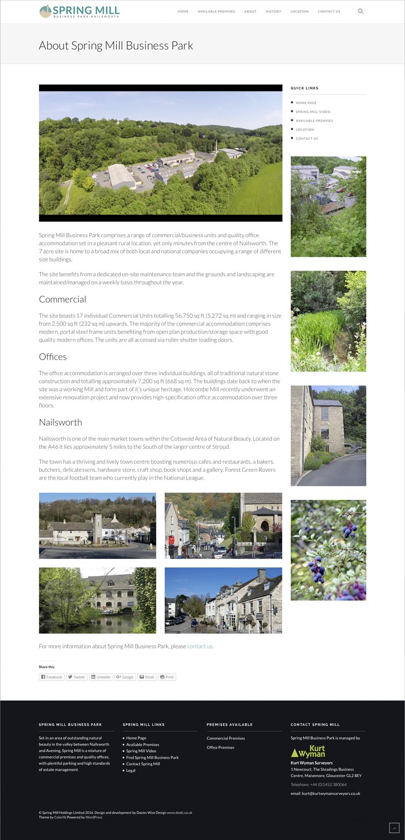 Spring Mill web site 'about us' page