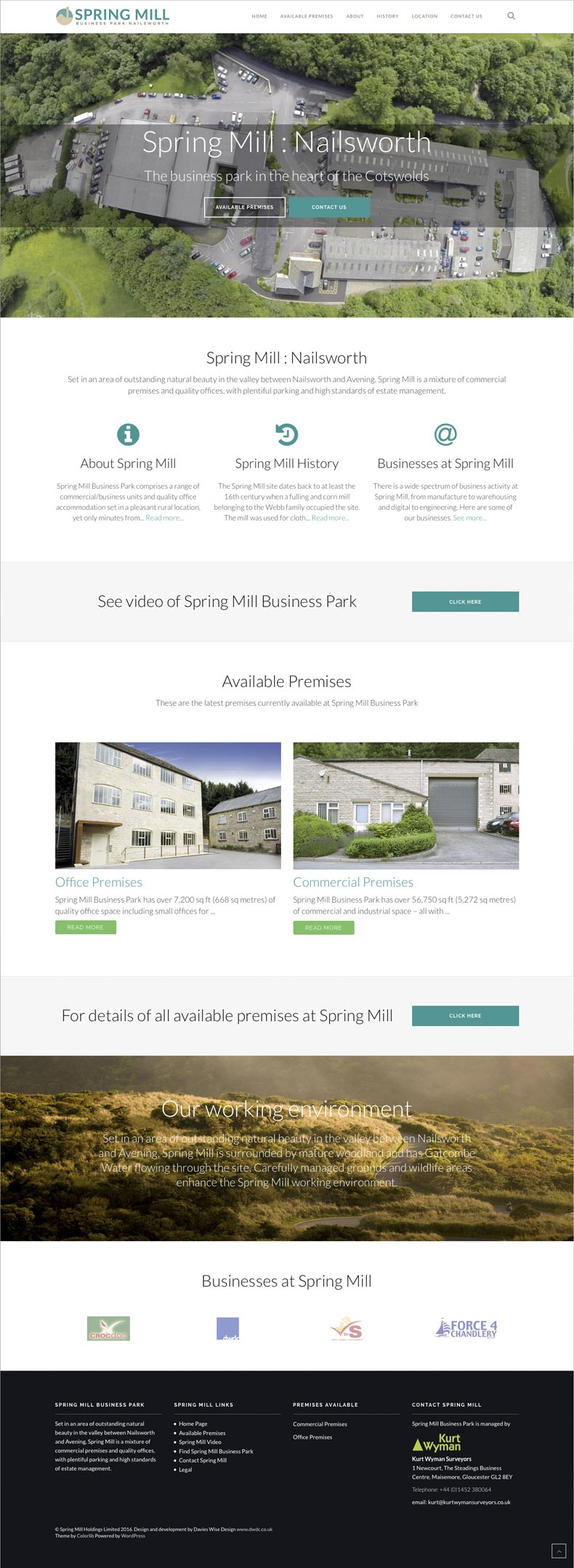 Spring Mill web site home page