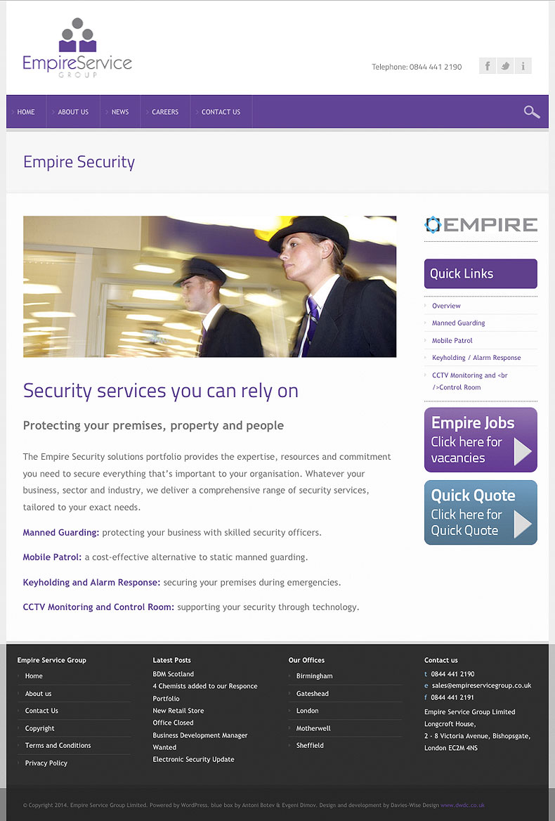 Empire Service Group web site - Empire Security page