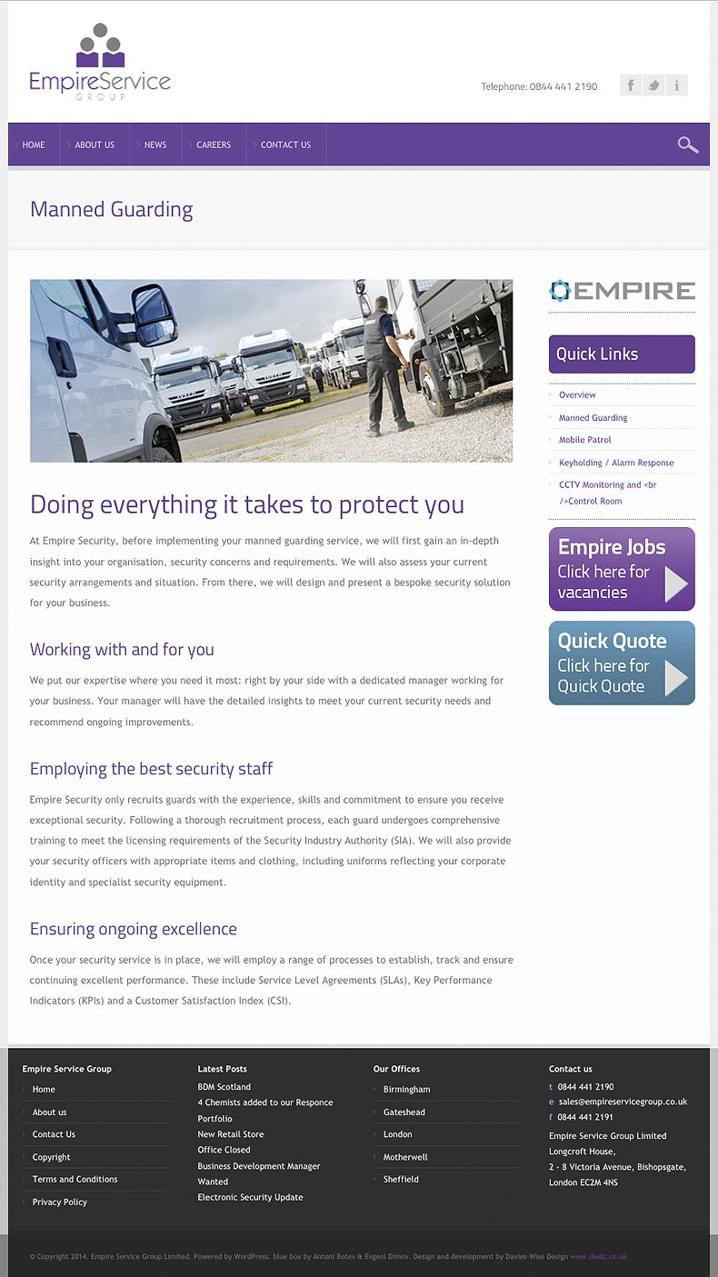 Empire Service Group web site - Empire Security manned guarding page