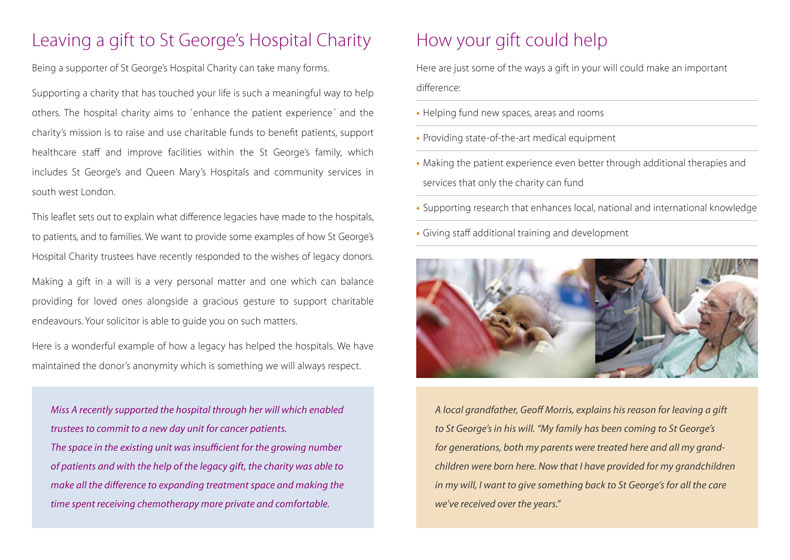 St George's Hospital Charity Legacy Leaflet pages 2 and 3