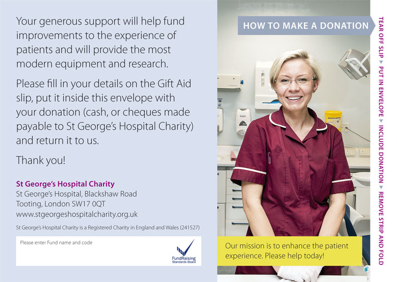 Donation Envelope back – St George's Hospital Charity