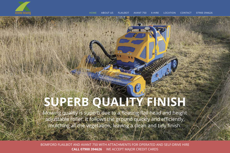 Xtreme Mowing website parallax section